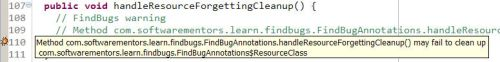 FindBugs Resource Handling Annotations Error Message