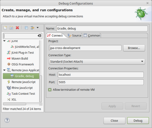 Configuring Eclipse to debug Gradle tests